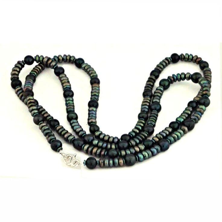 Lange Zuchtperlenkette tahiti-grün 6-7 mm echte Perlen, Halskette, silber 100cm