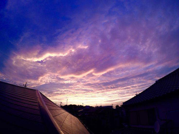 昨日の見事な夕焼け。