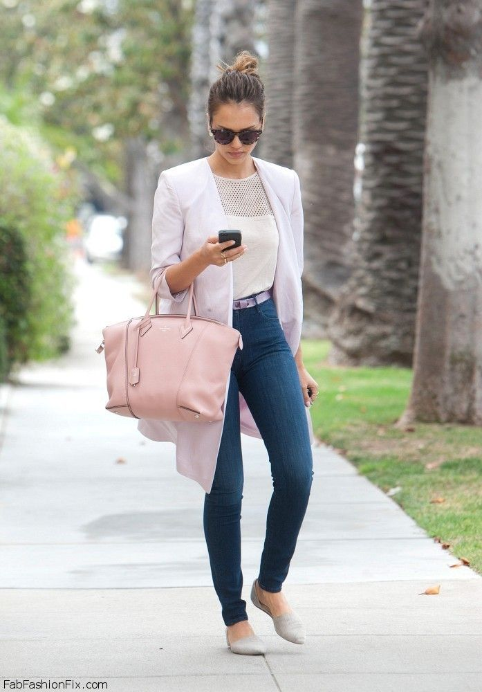 Jessica Alba spring street style with Louis Vuitton handbag.