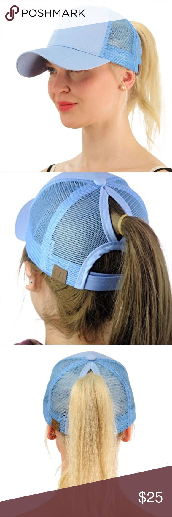 """🆕 Ponycap Messy High Bun Ponytail Mesh Cap One size fits most with adjustable hook and loop fastener. Ponytail slot 3"""" by 5"""". Perfect for pulling your messy bun or high ponytail through. Simply pull hair through slot and adjust to desired style. Even suitable for man buns! This listing is for blue . Boutique Accessories Hats"""