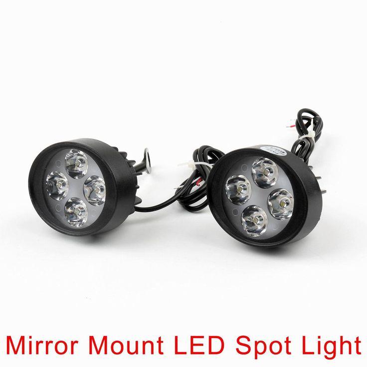 Mad Hornets - 4 LED Motorcycle Mirror Mount LED Driving Fog Spot Light Spotlight Harley, $34.99 (http://www.madhornets.com/4-led-motorcycle-mirror-mount-led-driving-fog-spot-light-spotlight-harley/)