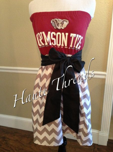 Alabama CRIMSON TIDE Bama Gameday Tube Strapless CHEVRON Football Dress with Black Sash Bow - Medium on Etsy, $70.00
