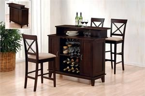 Bar Unit Item #100218 -The bar collection is finished in deep cappuccino with solid hardwoods and veneers. Dimensions: #100218 - 47 x 25 x 42H