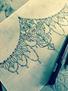 lace sternum tattoo women - Google Search