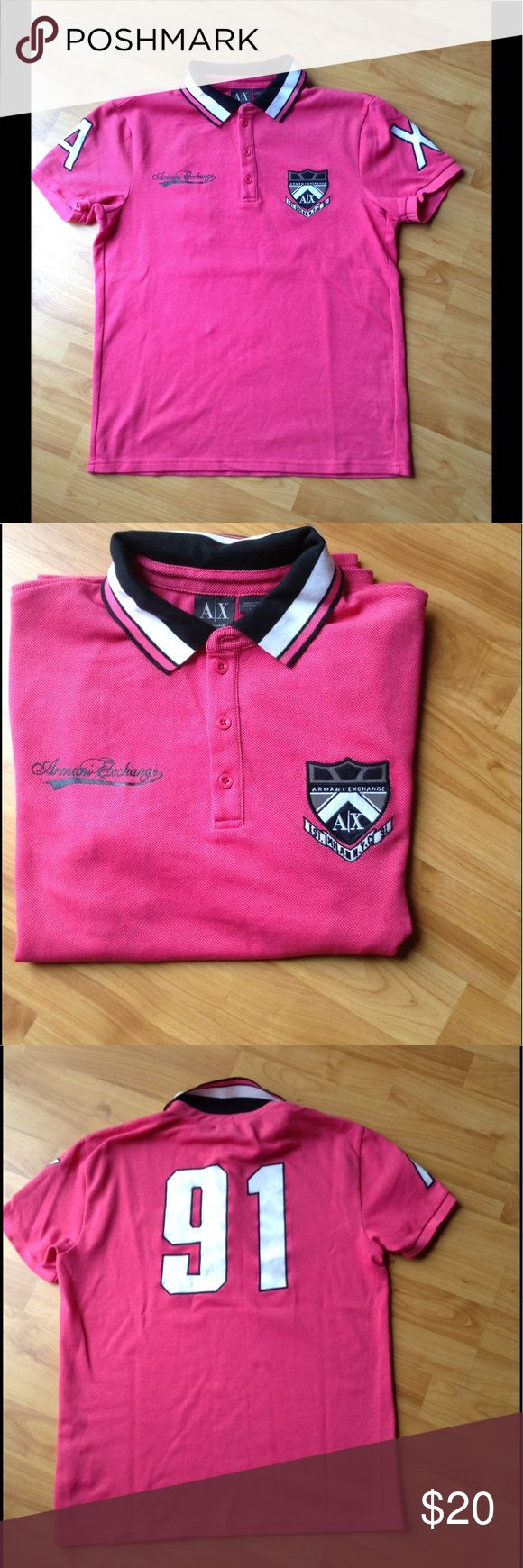 Men's Designer Polo Shirt Like New; Short Sleeve Polo Shirt with Patches on Sleeves and Number Stitched on the Back; Color is as shown in pics 1,2,3,4 Armani Exchange Shirts Polos
