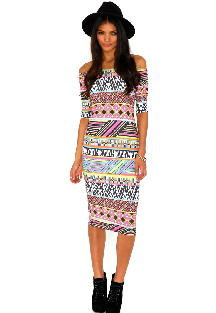 Kristy Aztec Bardot Midi Dress