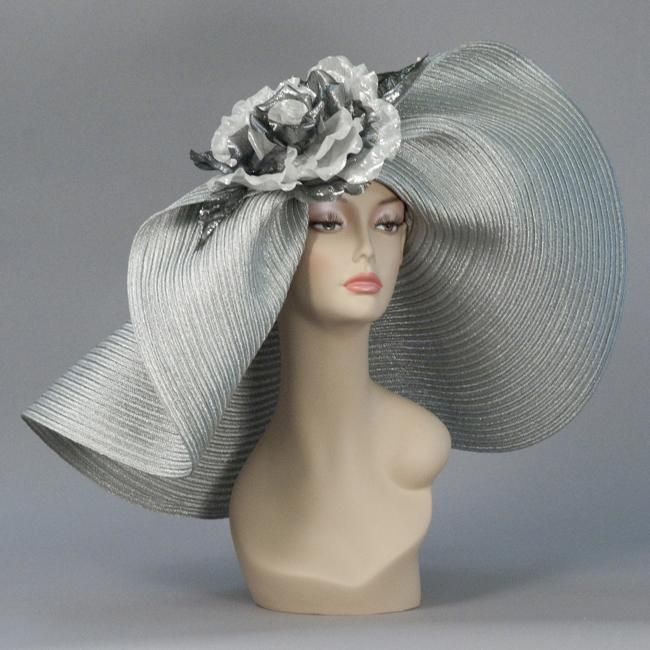 Louise Green Millinery Off Face Floppy, Metallic Braid, Silver. I LOVE this hat!