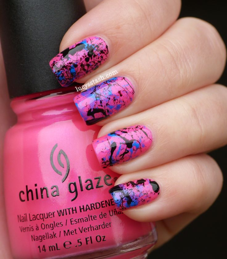 Hot pink splatter manicure featurich China Glaze and A England by Lucy's Stash