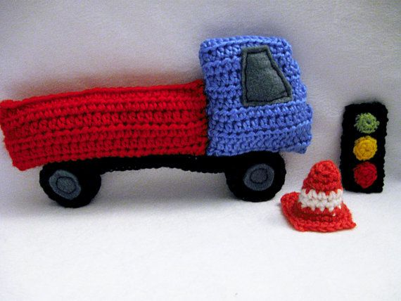 Crocheted Flat Bed Truck and Accessories Playset by OllybobsCrafts, $15.00