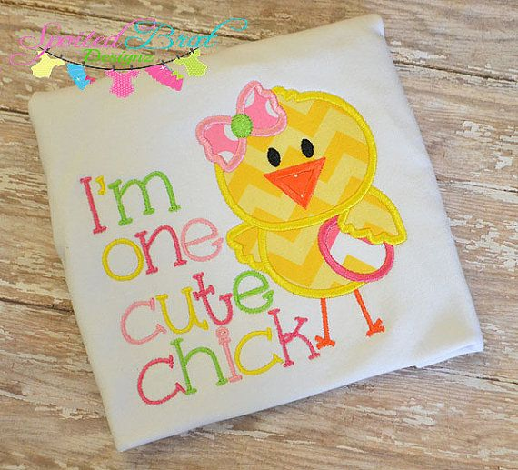 One Cute Chick Easter Embroidered Tee Custom by spoiledbratdesignz, $21.00