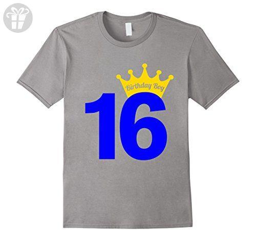 Men's 16th Birthday Boy Blue Prince T-Shirt Medium Slate - Birthday shirts (*Amazon Partner-Link)