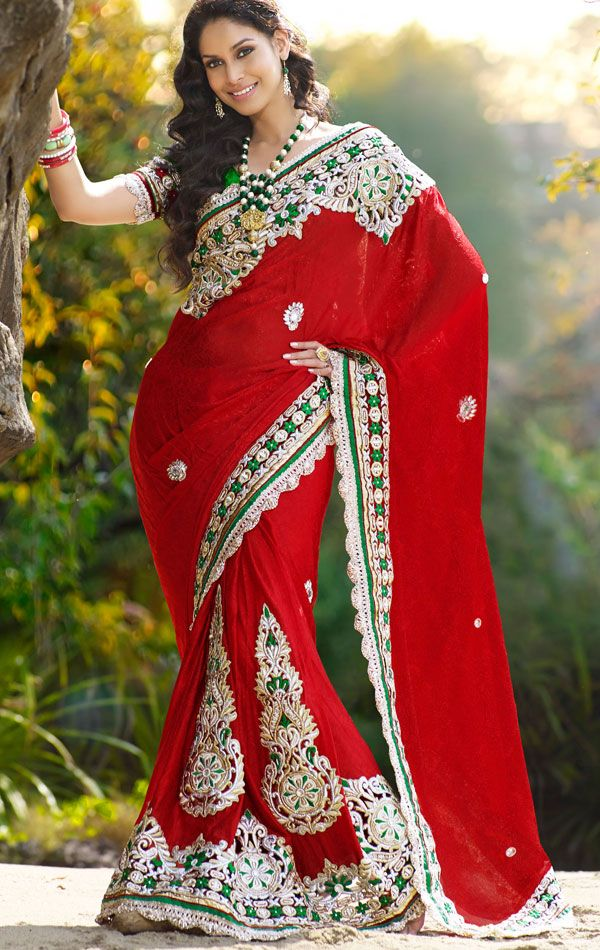 Crimson Red Designer Saree With Blouse (HSPTAS719) - OnlineDesignerStore.com