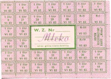 Milk rationing card