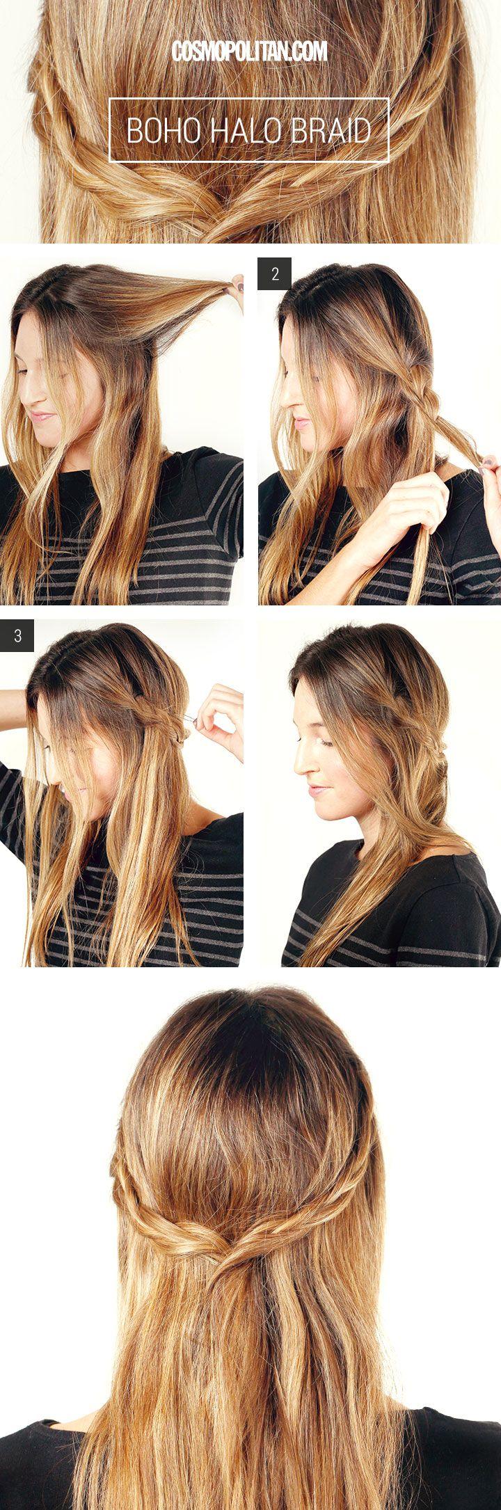 Hair How-To: the perfect Boho braid http://www.cosmopolitan.com/hairstyles-beauty/beauty-blog/bohemian-halo-braid-hair-tutorial
