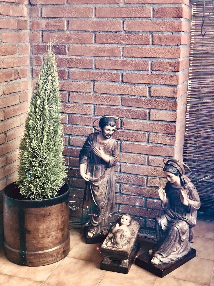 Christmas figures in Pep's Home outdoor. Barcelona.