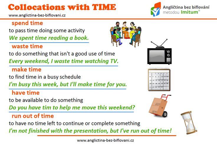 """Čas nás provází na každém kroku a v mnohých případech se nám ho nedostává. ⏰ Naučte se ustálená slovní spojení se slovem """"TIME"""". ⌚ ⏳ 📅 #collocations #time"""