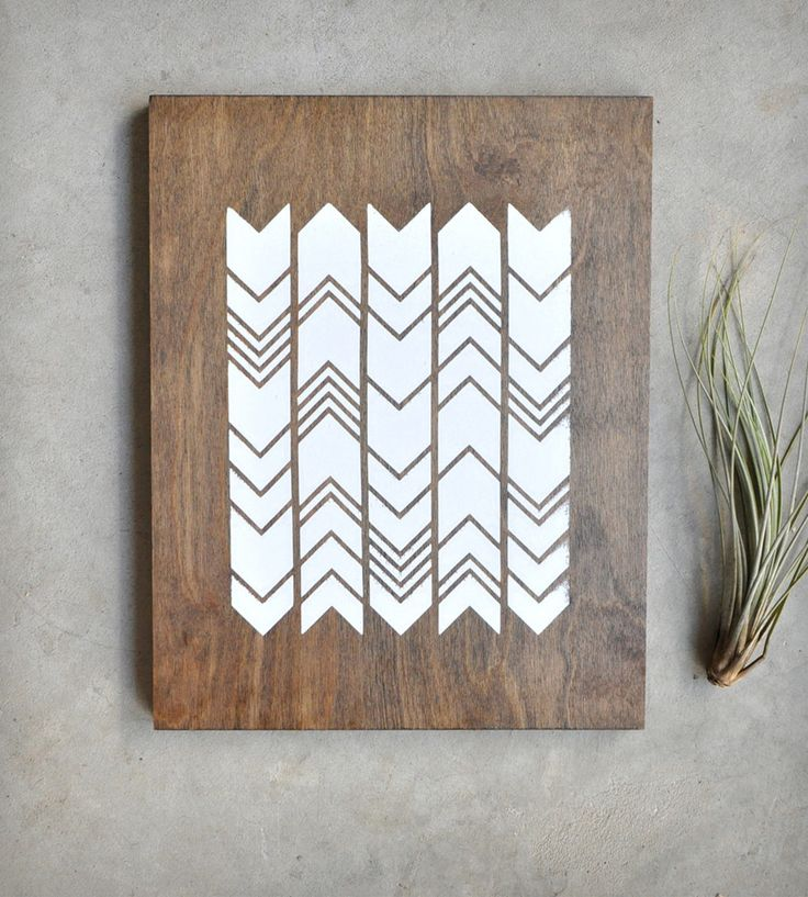 Chevron Screen Print on Wood by Retro Menagerie // could be a good chopping board pattern