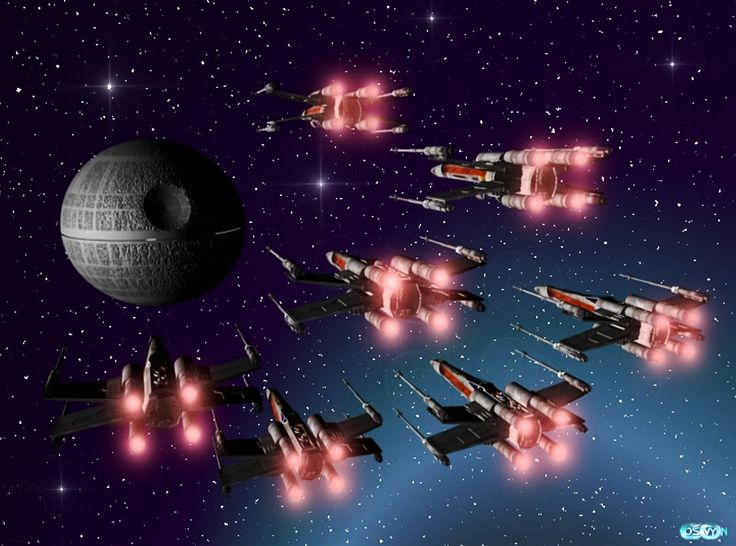 5_Star Wars_X-Wings attacking the Death Star.