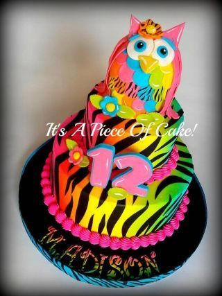 2Tier Neon Colored Owl/Zebra Print - Cake by Rebecca - CakesDecor