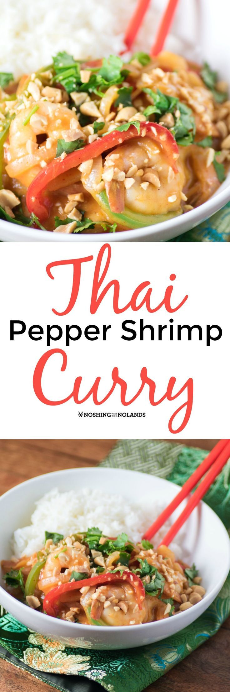Thai Pepper Shrimp Curry by Noshing With The Nolands is a delicious weeknight meal that comes together quickly and easily. Your family will love it!