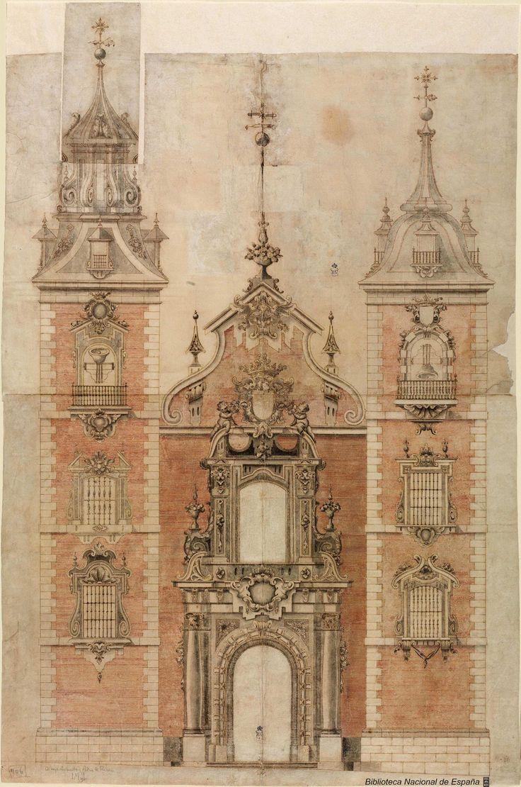 [Proyecto de torres para la fachada de la iglesia de la Casa Profesa de los Jesuitas, en Madrid]. Anónimo español s. XVIII — Dibujo — 1700-1735