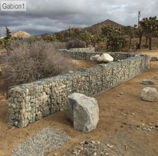 3' tall gabion wall in Yucca Valley http://www.gabion1.com