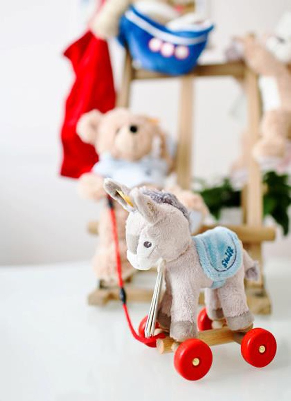Even teddies need friends. Steiff teddy with working pull donkey toy. Enter to win a $300 #NottingHill gift card theprov.in/notting contest #contest