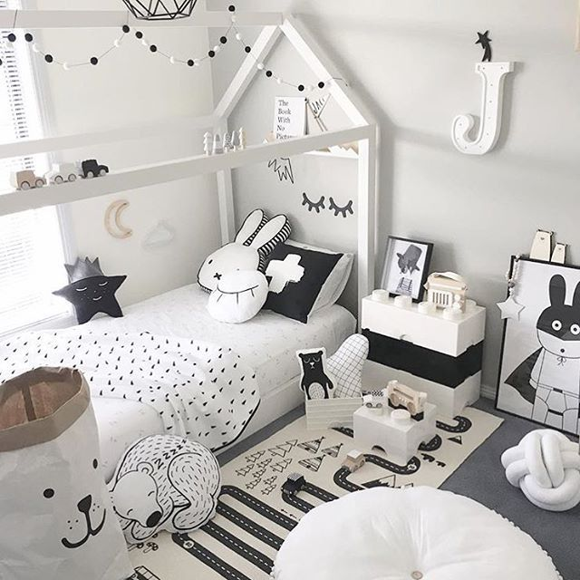 For the love of Monochrome!! Gorgeous room inspo for all you lovers of black and white featuring our Adventure Rug and Bear storage bag  What fun there is to be had in this room. Store link in our bio. Gorgeous room @style.create.inspire