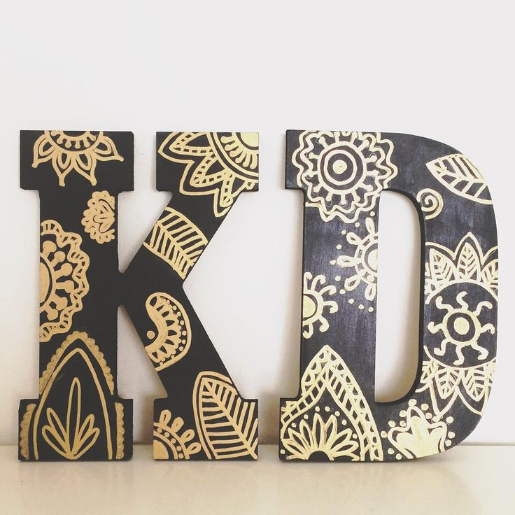 Kappa Delta wooden letters with black acrylic paint and gold paint pen! #kappadelta #sorority #letters