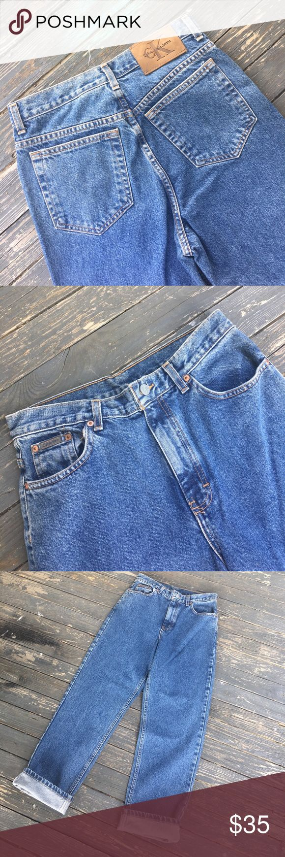 "90's  H/W Calvin Klein Jeans Now Trending .....hard to find vintage,  HIGH WAIST, Leather tag, Jeans, by CALVIN KLEIN❗️These are 100% Cotton and factory tagged a size 10.  For a perfect fit, measured laying flat:  Front Rise 12"", Waist 15"", Hips, 20"", and Inseam (Uncuffed) 29"".  NOT  ""Mom"" jeans  in 2017 🎯These are in EUC and ready to rip, roll, or distress for your personal style❗️ * From a smoke free home. Calvin Klein Jeans"