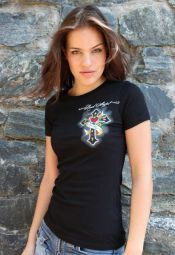 ROCK ANGEL Black Tee with Crystals