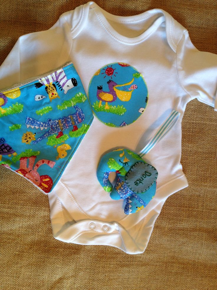 Baby gift set. Blue animals fabric appliqued cotton bodysuit with matching bandana bib and personalised elephant decoration.