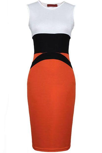 Vestido body sin manga-Blanco y rojo 19.65