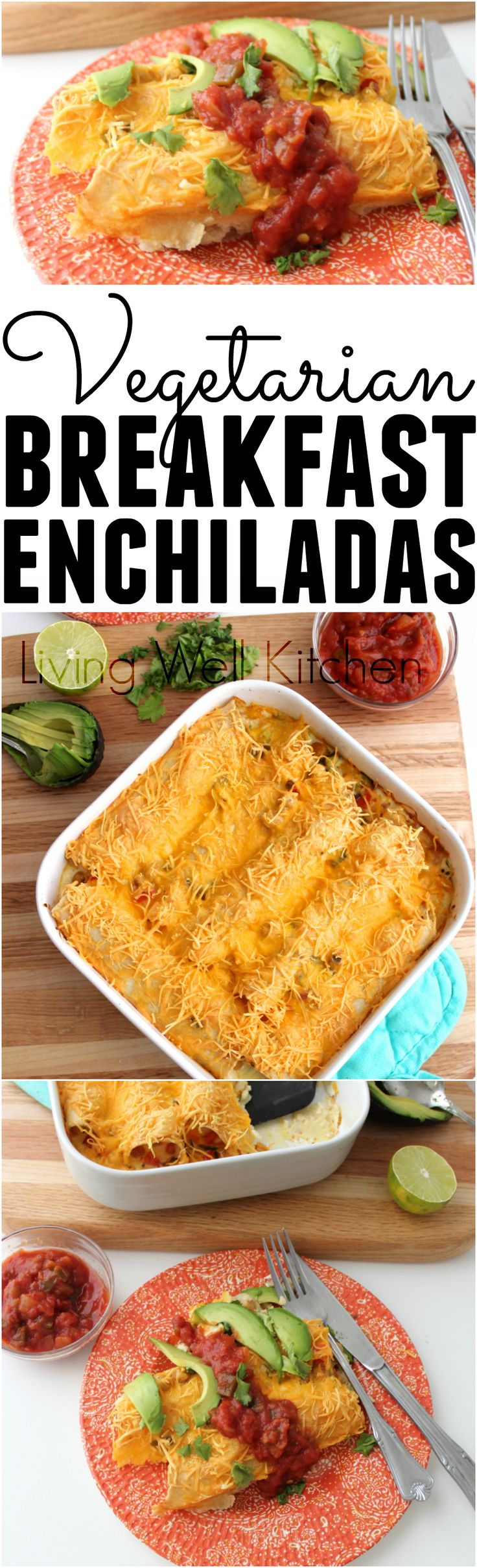 Vegetarian Breakfast Enchiladas make breakfast something to look forward to. Plus they're full of veggies, protein and healthy carbs to keep you full for hours. Vegetarian Breakfast Enchiladas from @memeinge