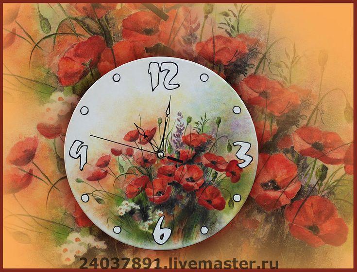 """Купить Часы """"Мое маковое поле"""" - Декупаж, красные маки, часы необычные, авторские часы"""