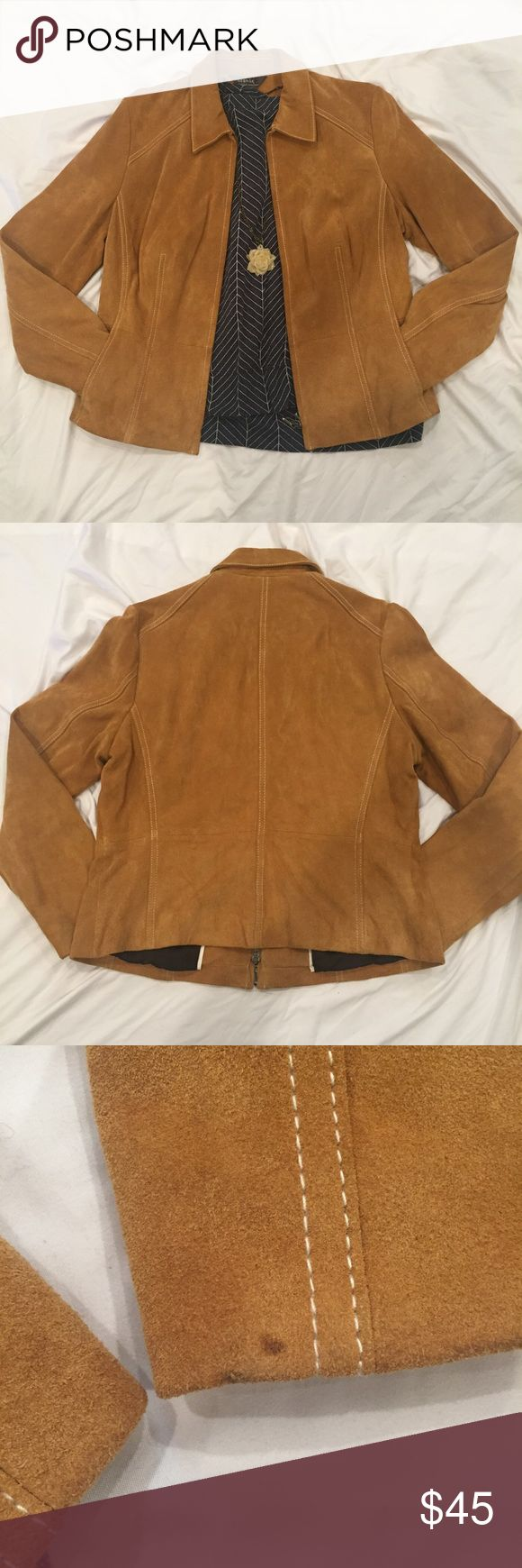 """Genuine suede jacket size ladies Large 12/14 Genuine suede jacket. Size Large 12/14 Approx 23"""" in length flat. Excellent quality in good condition. One spot on inside of sleeve by wrist and a few light scuff marks by pocket where arms hang. (See pictures) George Jackets & Coats Utility Jackets"""