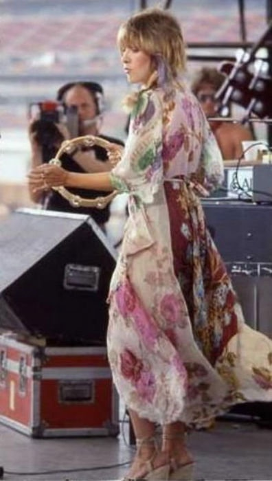 Stevie Nicks in floral dress 1970s