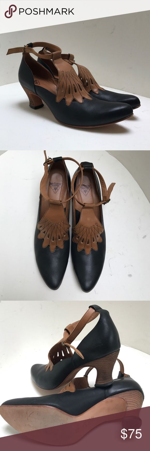 John Fluevog Mary Jane black ankle strap shoes Worn only once! John Fluevog Mary Jane black heel ankle strap shoes. Black with tan detailing. Size 10 john fluevog Shoes Heels