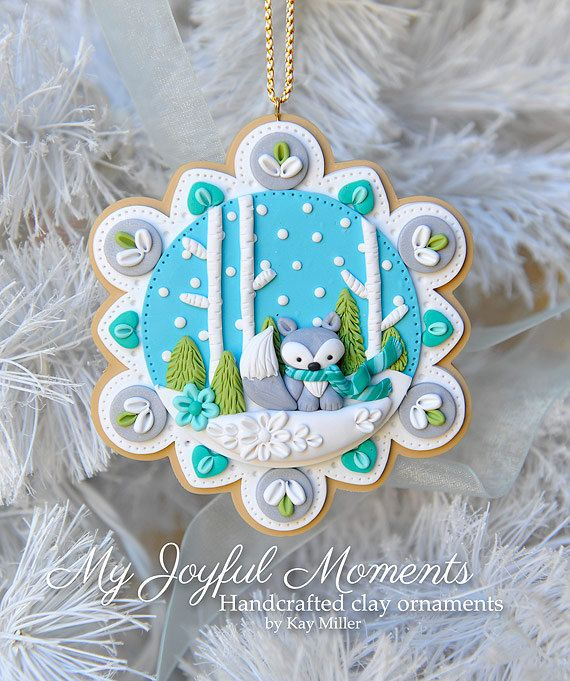 Handcrafted Polymer Clay Winter Fox  Scene Ornament - made by Etsy seller My Joyful Moments.