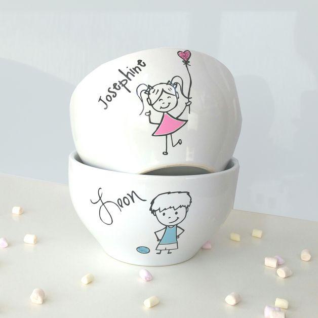 Müslischalen für Mädchen und Jungen mit Namen / breakfast bowls for girls and boys, customize with name by JU-GrafikDesign via DaWanda.com