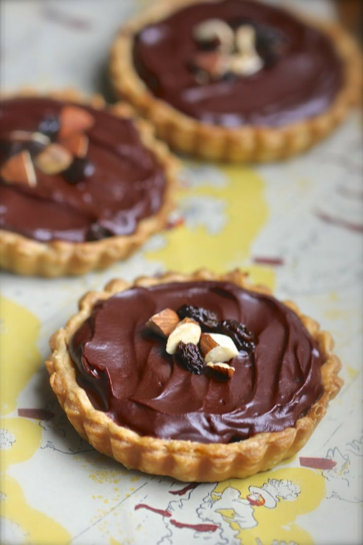 Little chocolate tarts inspired by the Cadbury Fruit and Nut candy bar.  #ganache #raisins #almonds