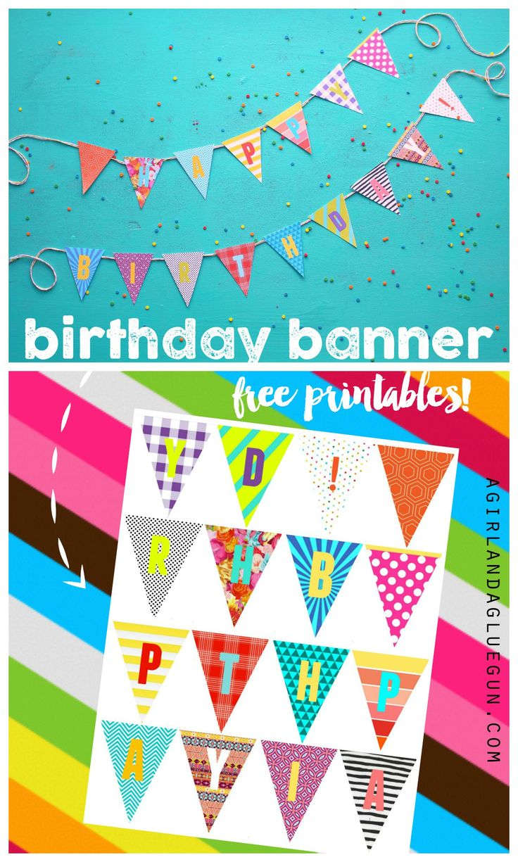 birthday banner with free printables colorful