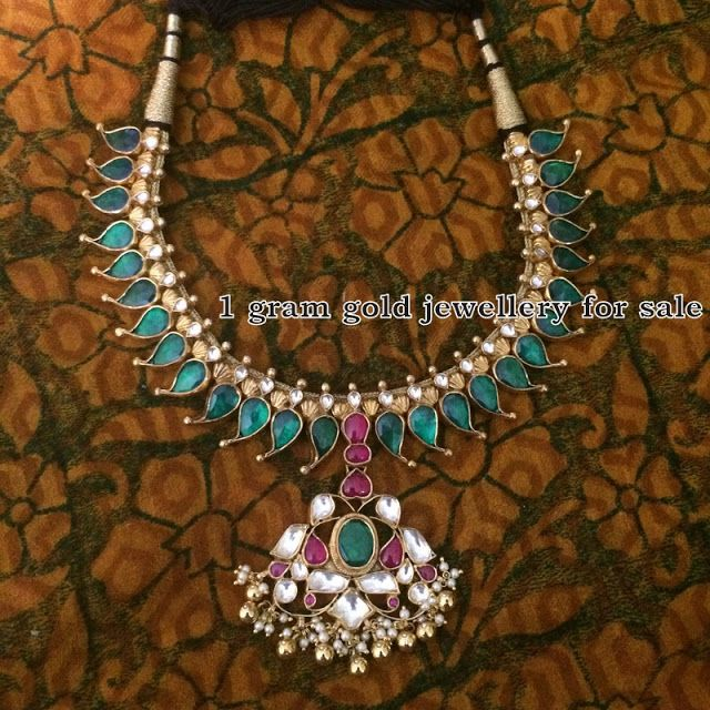 Indian Jewellery Designs: Silver  Mango Emeralds  Necklace With Small Studs