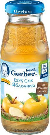 яблочный с 4 мес. 175 мл  — 86р. ------------------------------- Сок Gerber яблочный с 4 мес. 175 мл. Яблоки являются чуть ли не самыми полезными фруктами. Их польза заключается в гармоничном сочетании различных компонентов, включая витамины, минералы, фруктовые кислоты, сахара и клетчатку. Яблочный сок содержит витамин С, соли калия, магния, фосфор, железо, яблочную, лимонную и другие органические кислоты. Яблочный сок рекомендуется вводить в детское питание первым. Яблочный сок…