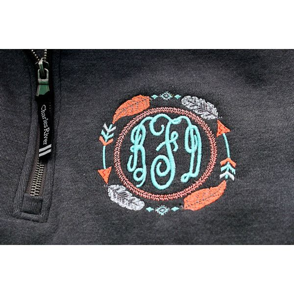 Aztec Tribal Monogram Sweatshirt Pullover With Pockets 1/4 Quarter Zip... ($35) ❤ liked on Polyvore featuring tops, hoodies, sweatshirts, grey, women's clothing, sweatshirt pullover, zip pullover sweatshirt, zip pullover, monogrammed pullover and sweater pullover