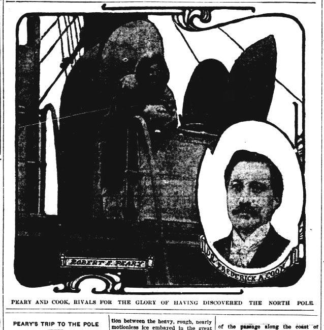 Story about the race to discover the North Pole between Frederick A. Cook and Robert Peary. Printed in The Ocala evening star on September 15, 1909.