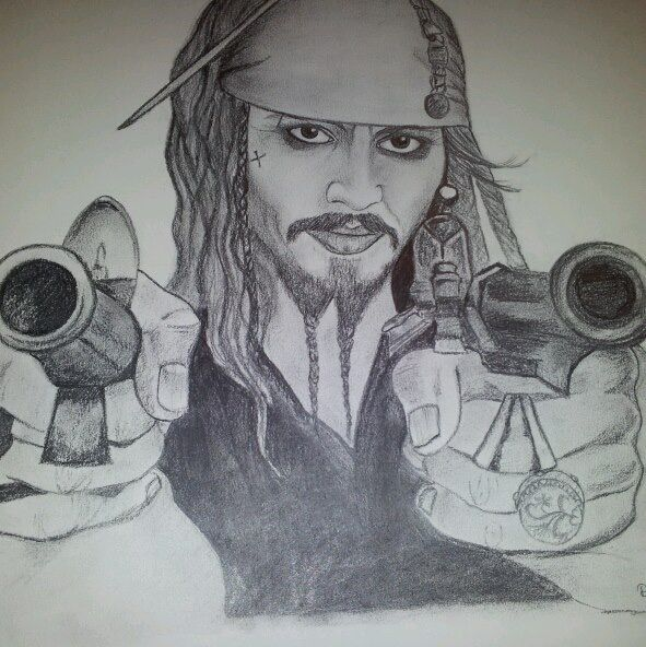 """Captain Jack"" The one and only Captain Jack Sparrow. Graphite drawing, 15- 20 hours of work, sold."