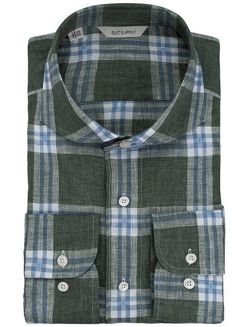 Zielony Kratka Pojedyncze Mankiety H5101 | Suitsupply Online Store
