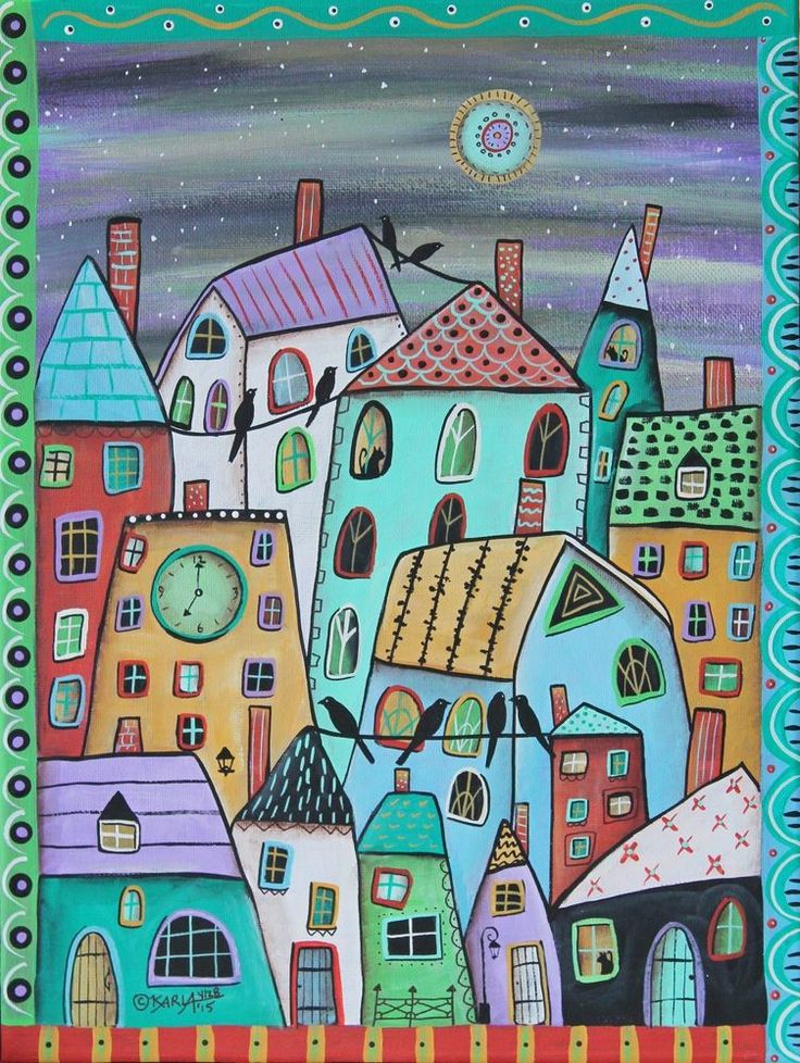 Early Eve 12x16 inch Birds Houses ORIGINAL CANVAS PAINTING Folk Art Karla Gerard #FolkArtAbstractPrimitive