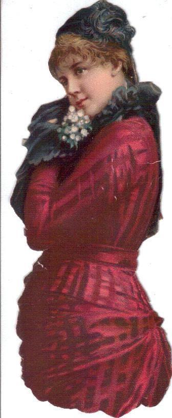 Lady in Red c1880's die cut scrap